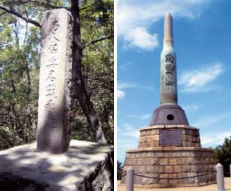 (右)203高地山頂の爾霊山慰霊碑、(左)日露戦争で戦死した乃木大将の次男の碑