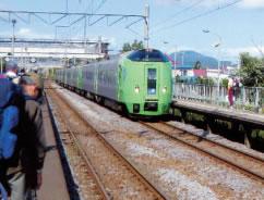 木古内駅に入線する「スーパー白鳥」