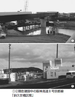 (1)(2)現在建設中の阪神高速8号京都線「斜久世橋区間」