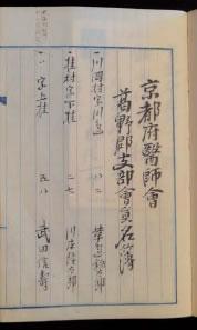 京都府医師会葛野郡支部会員名簿(大正6年)