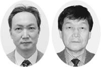 再選された関理事長(右)と新たに副理事長に選出された林氏