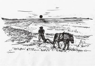 満洲の昿野のイメージ(著者描く)