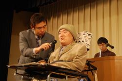 アピール提案をする木村善男さん(NPO法人京都頸髄損傷者連絡会理事)と司会の寺谷一紀さん